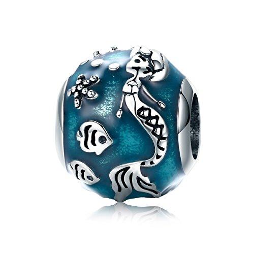 (Everbling Mermaid Enamel Fish Ocean 925 Sterling Silver Bead Fits European Charm Bracelet)