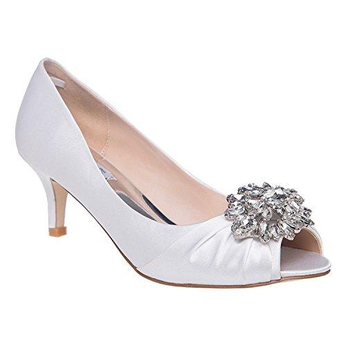 Laras Womens Open Toe Wedding Dress Pump Shoes White