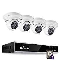 Loocam 4CH 1080P HD-TVI Video DVR Security Camera System, DVR Recorder with 1TB HDD and 4x 2MP Surveillance Cameras(Dome), Motion Detection & Email Alert, Intuitive Android & iOS APP