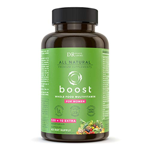 Dr Diane Premium All-Natural Whole Food Multivitamin for Women, 120+10 Extra Vegetarian Capsules, Natural Vitamins, Minerals, Raw Organic Extracts,Probiotics, Digestive Enzymes, B-Complex, More.