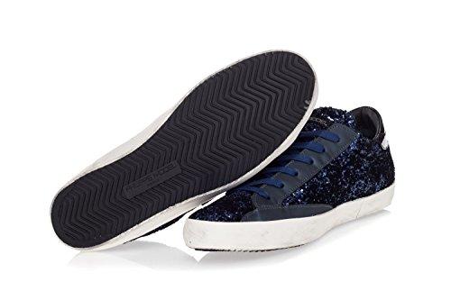 Philippe Model Dames Schoenen Sneakers Van Suède Met Glinsterende Paarse Paris