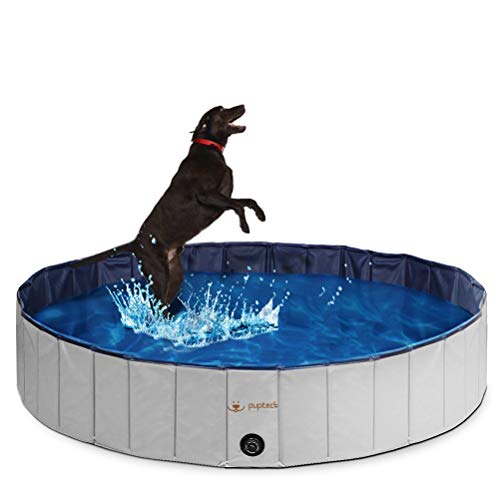 PUPTECK Foldable Dog Swimming Pool - Outdoor Portable Pet Bathing Tub Extra Large]()