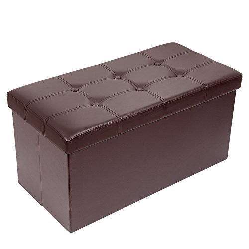 Amoiu 30'' L Faux Leather Folding Storage Ottoman Coffee Table Foot Rest Stool Seat Comfy Sponge Bench, Brown by Amoiu