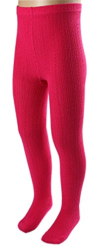 CHUNG Toddler Little Girls Cotton Footed Tights Cable knit Soft Stretchy Multi Color, Rosered, 5 by CHUNG