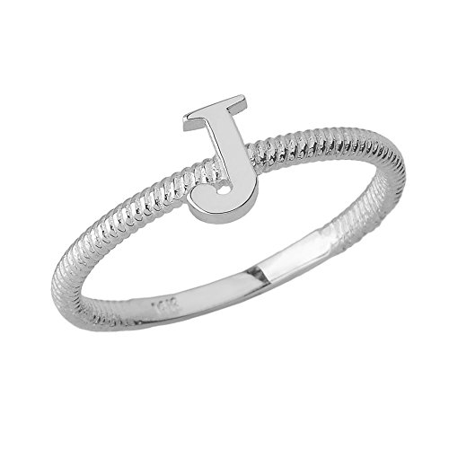 Women's 925 Sterling Silver ''J'' Initial Stackable Rope Design Ring (Size 4.5) by Modern Contemporary Rings