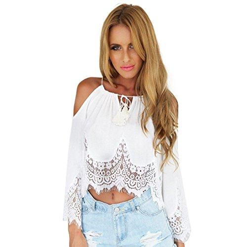 Bolayu Women Fashion Sexy Chiffon Lace Blouse Shoulder Long Sleeve Shirt Top (M, White)