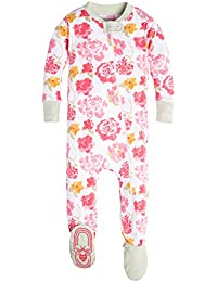 Baby Girls' Organic Floral Zip Front Non-Slip Footed...