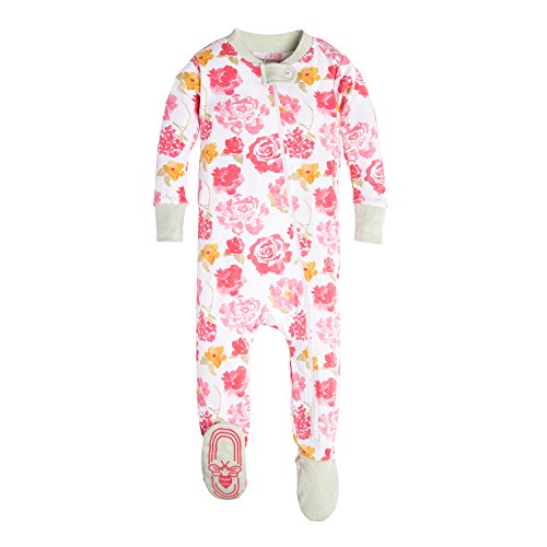 Burt's Bees Baby Baby Girls' Organic Floral Zip Front Non-Slip Footed Sleeper Pajamas, Cactus Rosy Spring, 6-9 Months