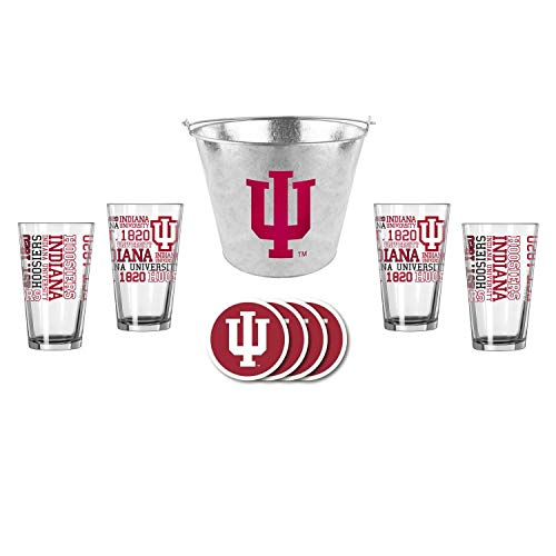 - NCAA Indiana - Metal Ice Bucket, Spirit Pint Glasses (4) & Vinyl Coasters (4) Set | Indiana Hoosiers Beer Bucket Gift Set