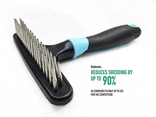 Red Double Row (Dog rake deshedding dematting brush comb - Undercoat rake for dogs, cats, rabbits, matted, short or long hair coats - Brush for shedding, double row of stainless steel pins - Reduce Shedding by 90%)