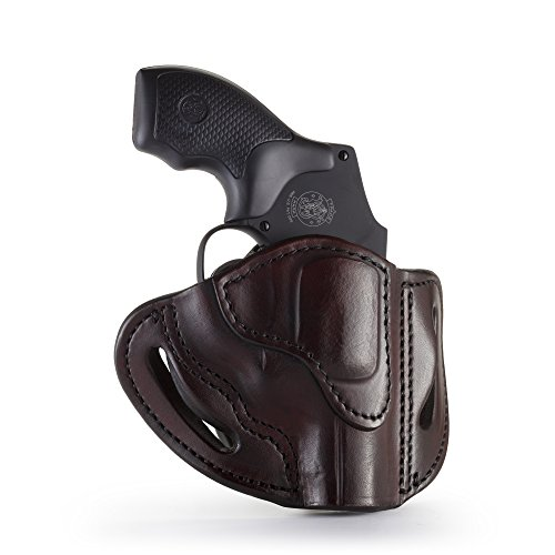 (1791 GUNLEATHER J-Frame Revolver Holster - OWB CCW Holster - Right Handed Leather Gun Holster for Belts - Fits All J-Frame Revolvers Including S&W and Ruger LCR (Signature Brown))