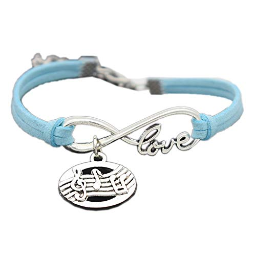 (Elegant Cute Antique Silver Oval Shaped Pendant Infinity Love Music Score Symbol Musical Note Charm Gifts Leather Bracelets,Sky Blue )