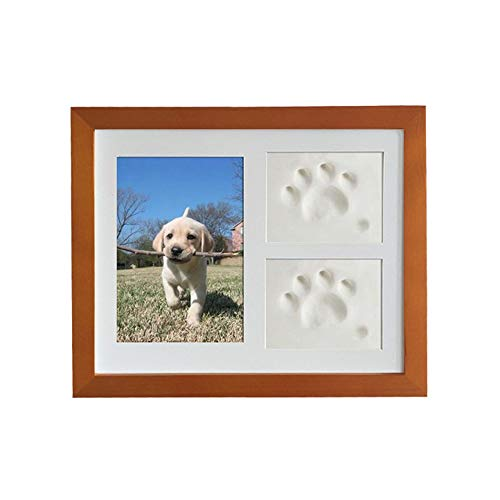ViKimLand Dog/Cat Clay Hand Print Picture Frame for Newborn, Keepsake Box for Pet, Boys and Girls, Best New Mom Gift - Foot Impression Photo Keepsake for Girls and Boys, Wall Photo Decoration (The New Rainbow Bridge Poem For Dogs)