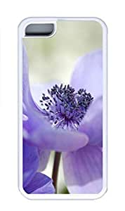 iPhone 5C Case, Personalized Custom Rubber TPU White Case for iphone 5C - Purple Flower Cover