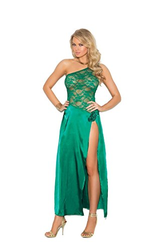 Elegant Moments Robes (Elegant Moments Women's Charmeuse and Lace Gown with One Shoulder, Jade, Large)