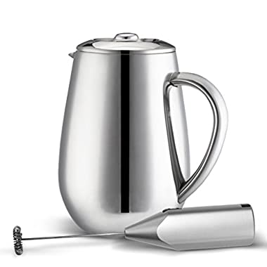 MIRA Stainless Steel French Press Coffee Tea Brewer Double Wall 1 Liter 34 Ounces (Coffee Press Pot, Cafetiere) with Bonus Milk Frother