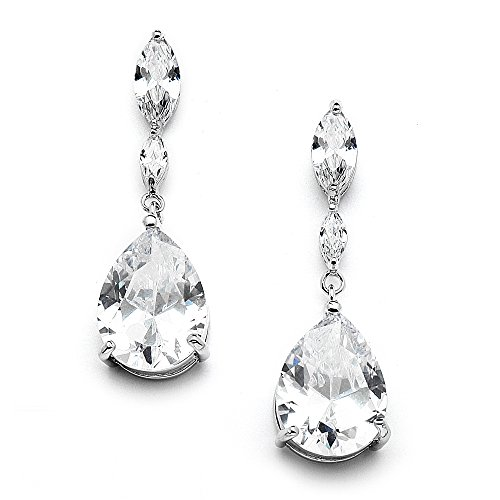 Diamond Teardrop Post Earrings - Mariell Cubic Zirconia Bridal, Bridesmaid or Prom Teardrop Earrings with Marquis and Pear-Shaped Dangles