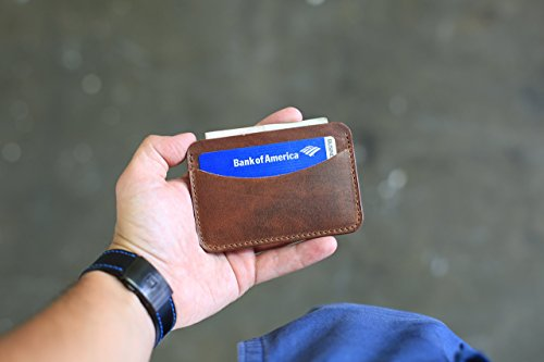 Minimal Wallet, Horizontal Card Holder, Leather Card Case, Horween Chestnut Leather Wallet, Travel Wallet