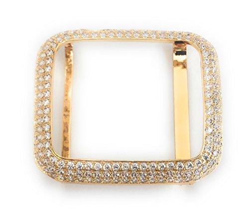 14k Yellow Gold Diamond Watch - Series 1 Apple Watch Bezel Case Yellow Gold Finish Lab Diamonds 38 / 42mm (38.0)