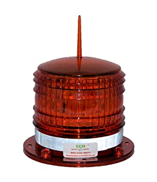 Marine Solar Warning Light RED LED Marine Dock Barge Safety Beacon Light 8 LED