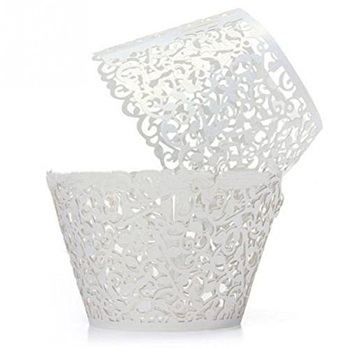 GRM[TM] 100PCS/Lot White Vine Lace Laser Cut Valentine Cupcake Baking Cups Liners Muffin Liner Cake Paper Mold Cup Wrapper Liner Baking Wedding Birthday Christmas Party Decoration