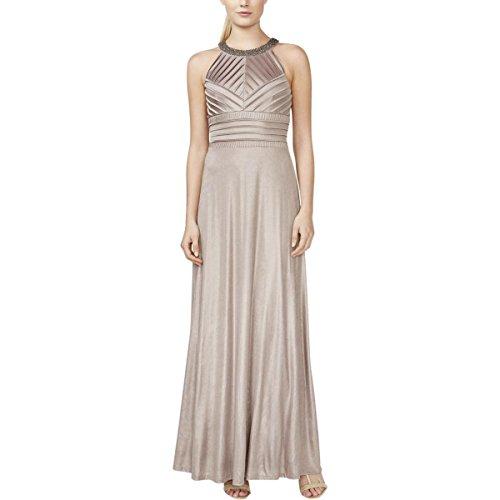 Klein s Khaki Halter Calvin Gown Embellished Women Metallic Jersey wBdA8qEfA