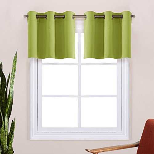 Fresh Green Window Valance Curtains - NICETOWN Easy Care Home Decor Tier Curtains with Grommet Top for Basement, Kitchen (42W by 18L Inches, 2 Panels) (Green Valance Window Treatment)