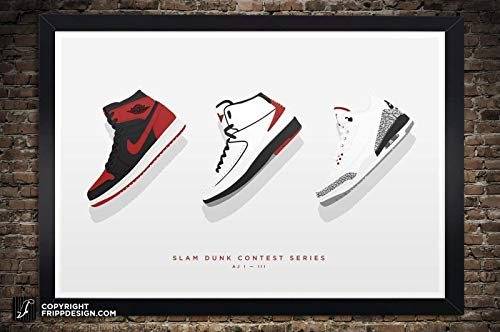 Mj Slam Dunk - Air Jordan 1, 2, 3 Slam Dunk Contest Series Illustration, Vintage Hanging Kicks - Best Seller - Large Sneaker Wall Art 12