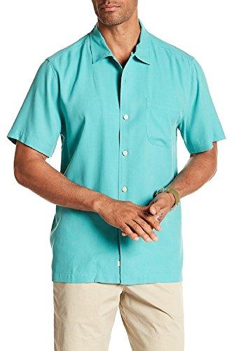 Bahama 100% Silk Shirt - Tommy Bahama Catalina Twill Silk Camp Shirt (Color Castaway Green, Size L)