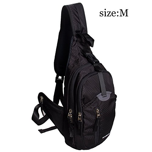 WASING Military Sport Pack Shoulder Sling Backpack Men Women Chest Gym Bag,Rover Sling Pack Chest Pack WS-ChestPack-black