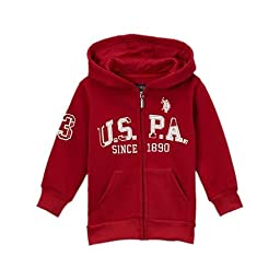 U.S. Polo Assn. Little Boys\' Boys Zip-Front Fleece Hoodie Sweatshirt (10/12, Barn Red)