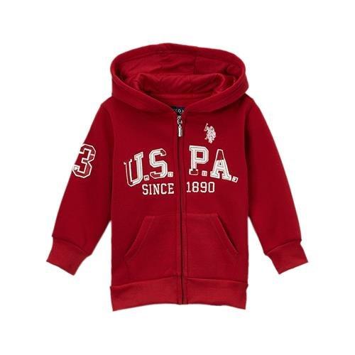 U.S. Polo Assn. Little Boys' Boys Zip-Front Fleece Hoodie Sweatshirt (14/16, Barn Red)