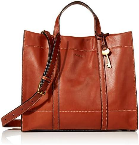 Fossil Women's Carmen Leather Shopper Tote Purse Handbag