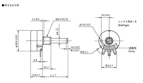 Taiss 2pcs RV24YN20S B502 5K ohm Carbon film potentiometer single-turn potentiometer + 2pcs A03 knob by Taiss (Image #5)