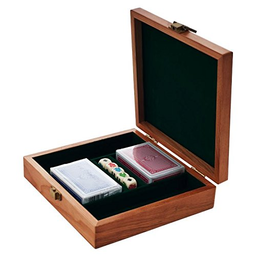 100 Chip Solid Oak Wood Poker Case - Includes 2 Decks of Cards and 5 Poker Dice! by TMG