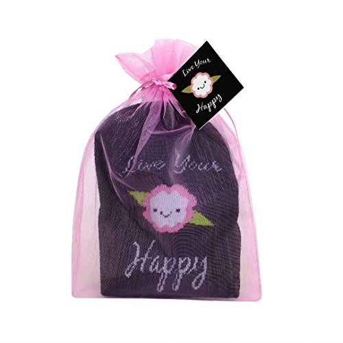 Ready to Give Live Your Happy Non Slip Grip Socks with Organza Gift Bag, Rayon from Bamboo Blend, Womens Sizes 6-10, Black, Ideal for Pilates Yoga & Mindful Practice
