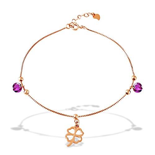 J.Rosée 925 Sterling Silver Rose Gold Lucky Four-Leaf Clover Chain Anklet/Bracelet with Exquisite Present