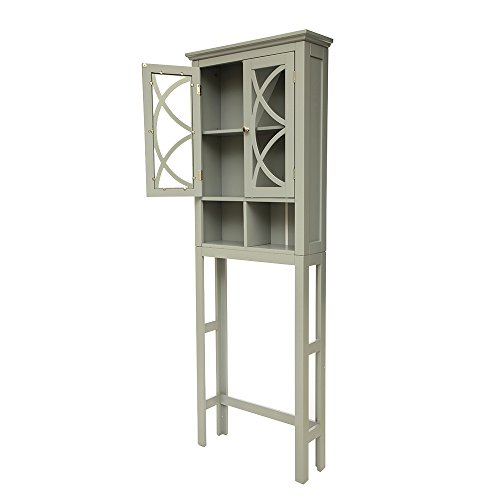 Glitzhome Wooden Free Standing Storage Cabinet with Glass Double Doors, Gray