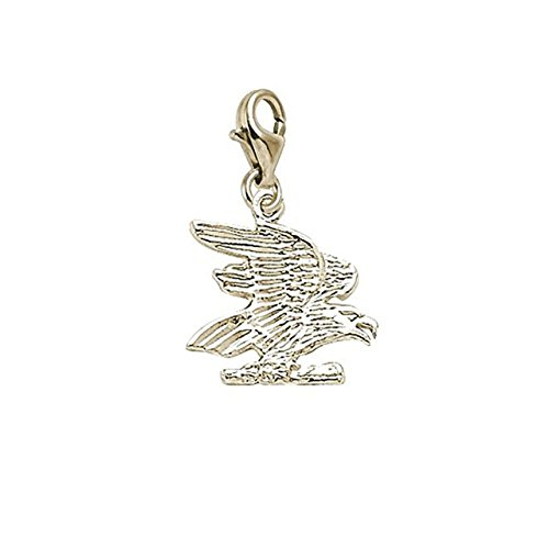 14K Yellow Gold Eagle Charm With Lobster Claw Clasp, Charms for Bracelets and (14k Gold Eagle Claws)
