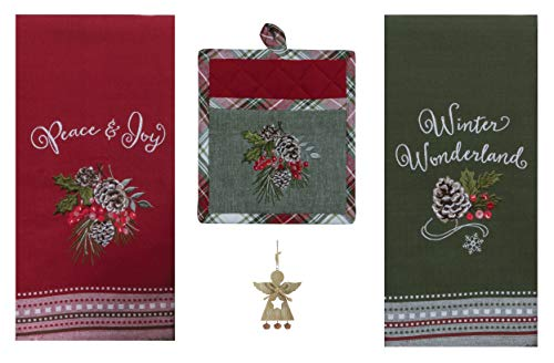 (Christmas Woodland Kitchen Towels and Pocket Pot Holder Bundle – Pinecones Holly)