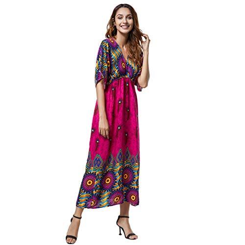 TEVEQ Women Boho Dress Ladies Print Summer V Neck Bat Sleeve Bohemian Dress Hot Pink