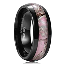King Will 8mm Black Tungsten Carbide Ring Pink Camo Hunting Camouflage High Polish Comfort Fit