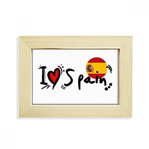 DIYthinker I Love Spain Word Flag Love Heart Illustration Desktop Wooden Photo Frame Picture Art Painting 5x7 inch by DIYthinker