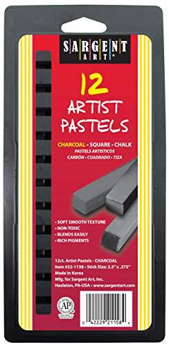 Sargent Art 22-1158 12-Count Charcoal Square Pastels