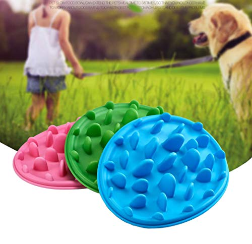 Yogwoo Dog Bowls Slow Feed Soft Silicone Cat Healthy Diet Bloat Stop Pet Interactive Fun Feeder Anti-Gulping Fat Preventing Choking 9.4 inch Blue
