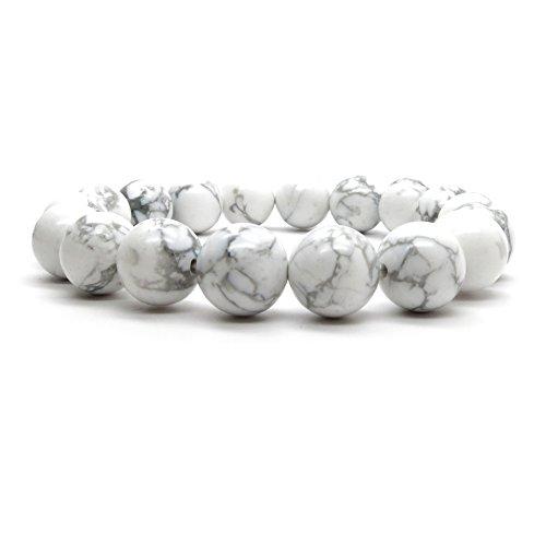 Howlite Bracelet 9mm Boutique Snow White Gray Round Crystal Healing Stretch Handmade B01 (Gray Round Bracelets)