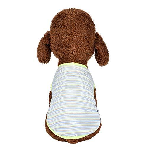 Dog Striped Cotton T-Shirts,Vine_MINMI Pet Breathable Soft Basic Vest Green