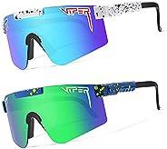 2 Pack Pit-Viper Sunglasses,Outdoor Windproof Sports Eyewear Cycling Baseball Running Fishing Golf Glasses