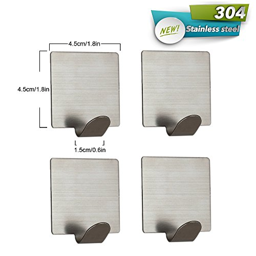 Wenkoni Self adhesive hook for Towel,Robe,Hat,and Key, Brushed 304 Stainless Steel, No Drilling Holes .