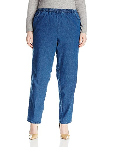 Chic Classic Collection Women's Size Plus Cotton Pull-On Pant with Elastic Waist, Mid Shade Denim, 20W ()